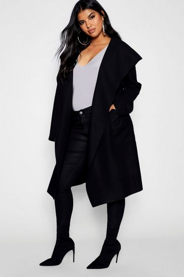 Womens Black Plus Belted Shall Collar Pocket Coat