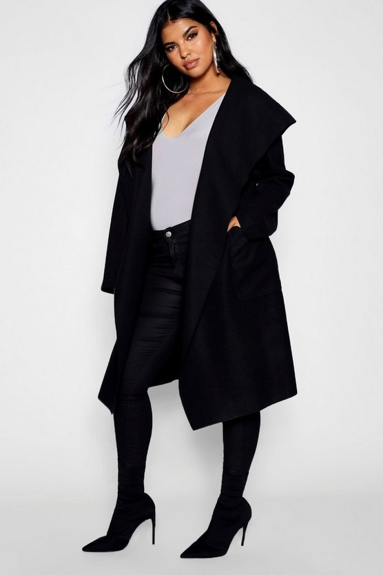 Plus Belted Shall Collar Pocket Coat