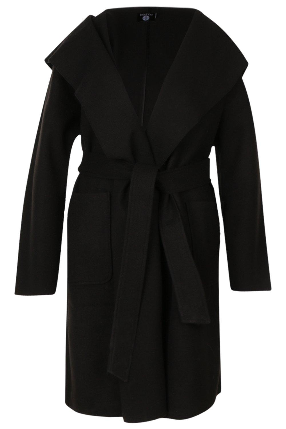 Belted Plus Coat Pocket Shall black Collar dwUxpw