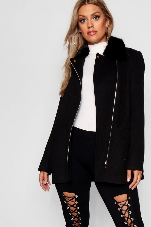Collar Plus Coat Fur Faux Front Zip IppqvSz