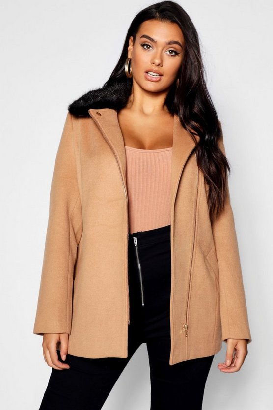 Plus Rose Zip Front Faux Fur Collar Coat
