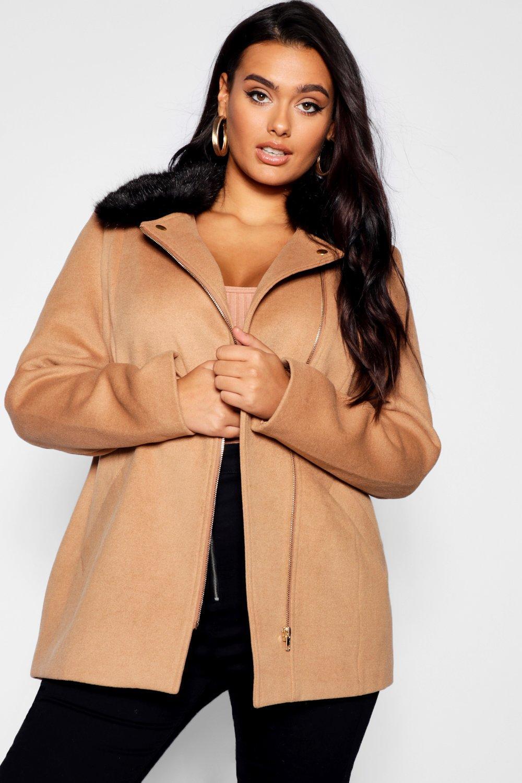Plus camel Front Coat Collar Fur Faux Zip Rose ZnwZaqU6