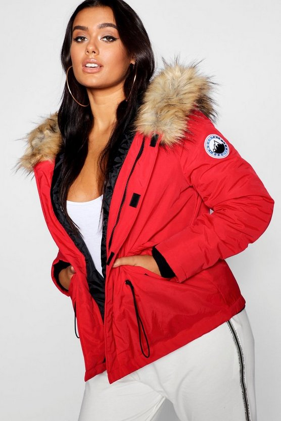 Plus Faux Fur Trim Hood Jacket