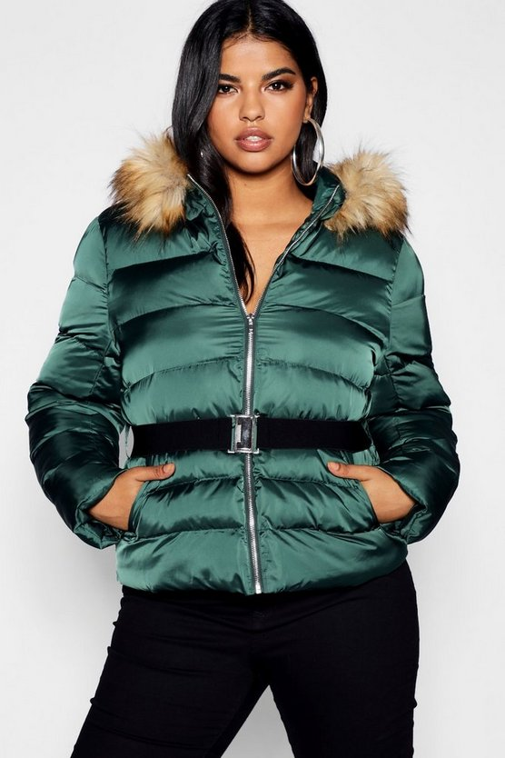 Midnight green Plus Belted Puffer Jacket