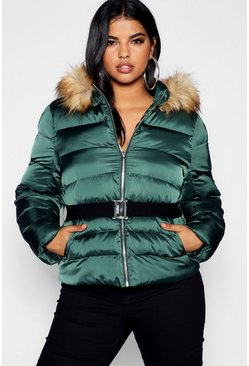 Womens Midnight green Plus Belted Puffer Jacket