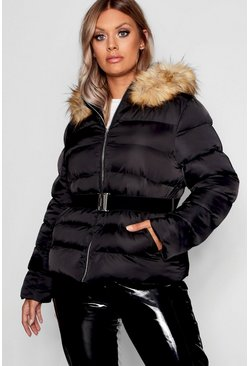 Womens Black Plus Belted Puffer Jacket