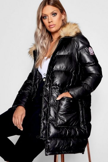 Womens Black Plus Metallic Longline Puffer Coat
