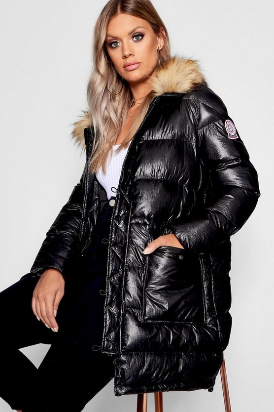 Plus Metallic Longline Puffer Coat