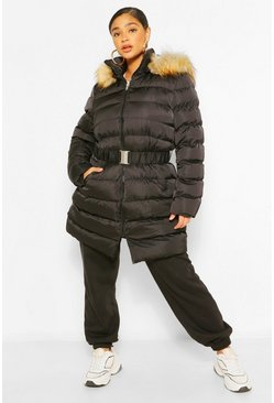Womens Black Plus Belted Faux Fur Hooded Puffer Long Coat