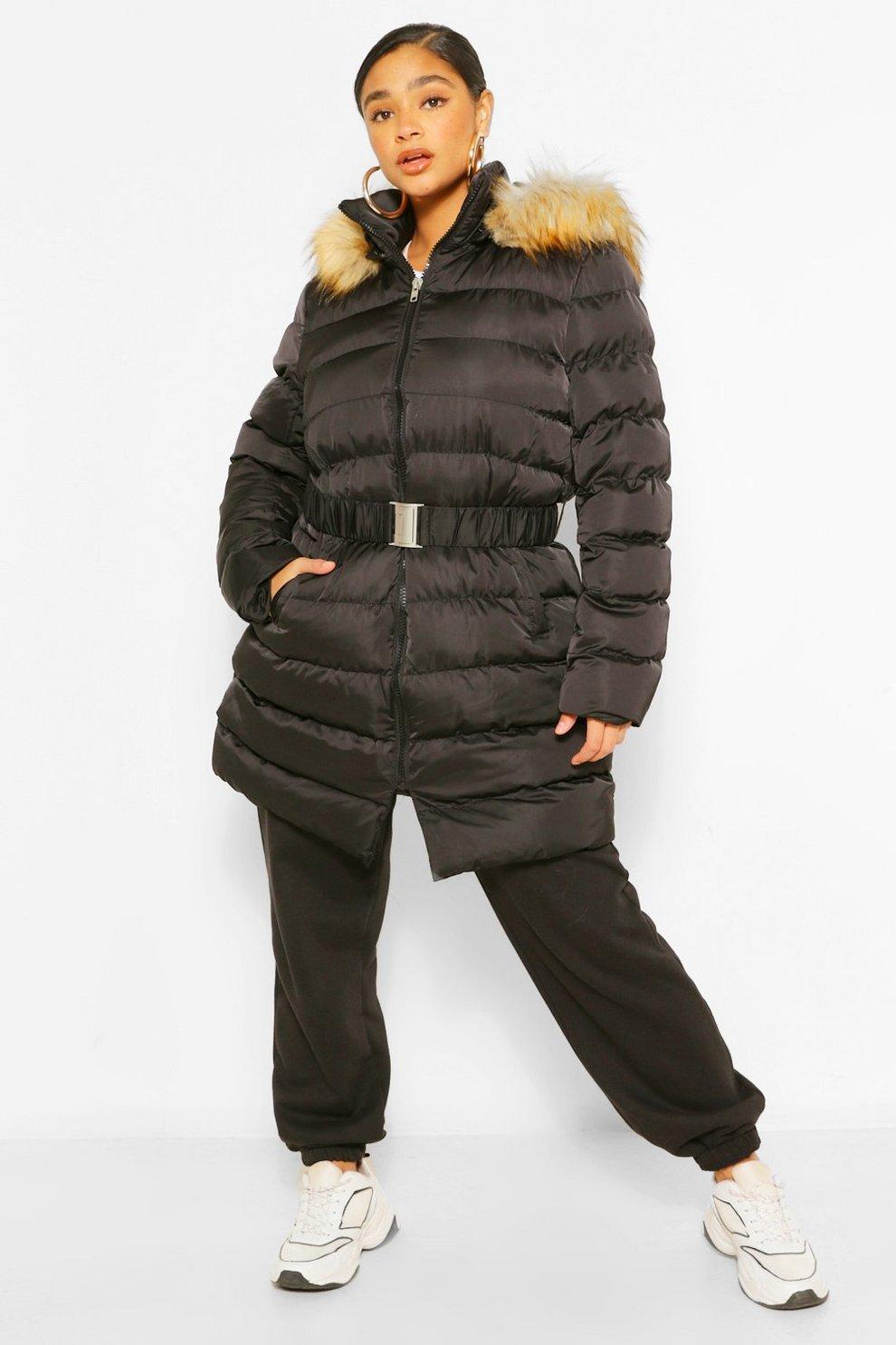 competitive price 07b7a ba0f3 Plus cappotto piumino lungo con cappuccio in pelliccia sintetica con cintura