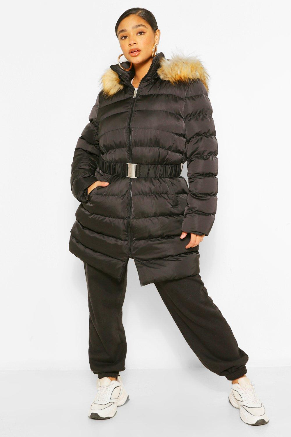 0734dc033 Plus Belted Faux Fur Hooded Puffer Long Coat | Boohoo