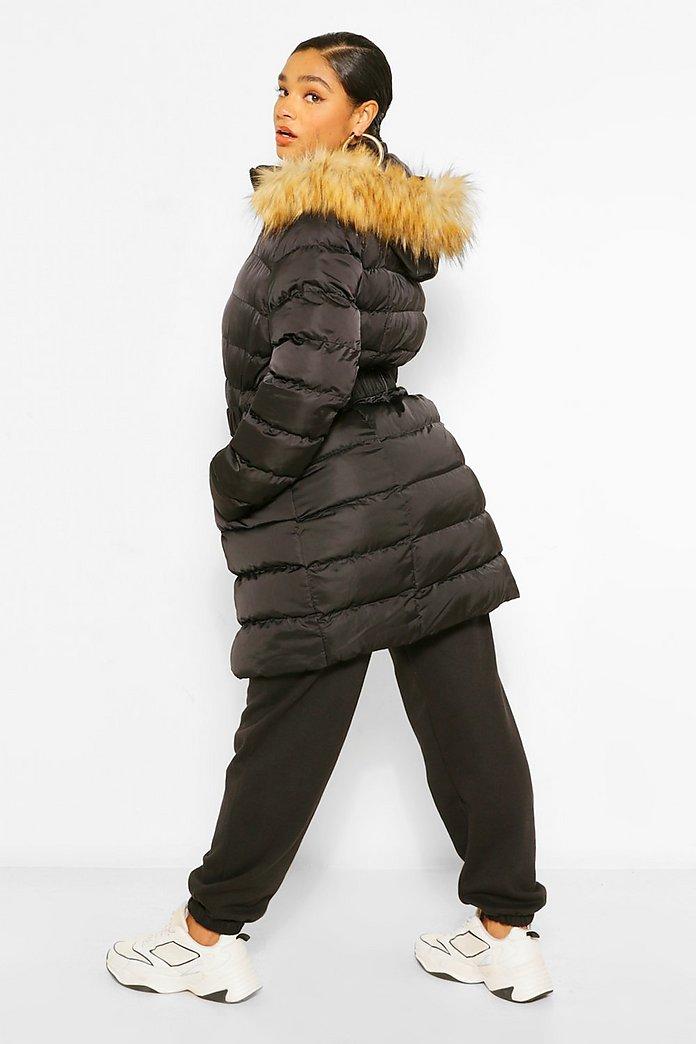 Plus cappotto piumino lungo con cappuccio in pelliccia sintetica con cintura | boohoo