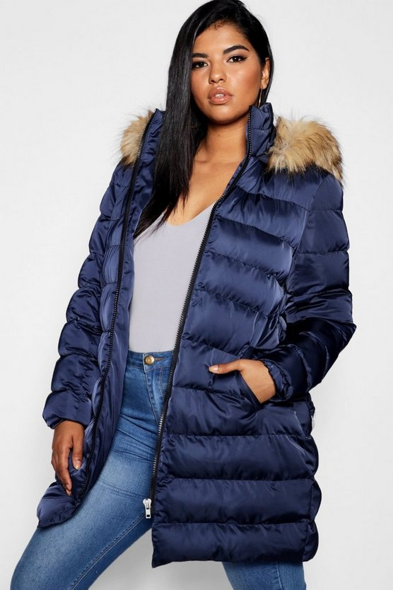 Womens Ink Plus Belted Faux Fur Hood Puffer Long Coat