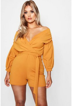 Amber Plus Wrap Off The Shoulder Playsuit