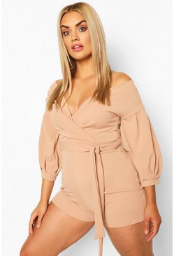 Stone Plus Wrap Off The Shoulder Romper