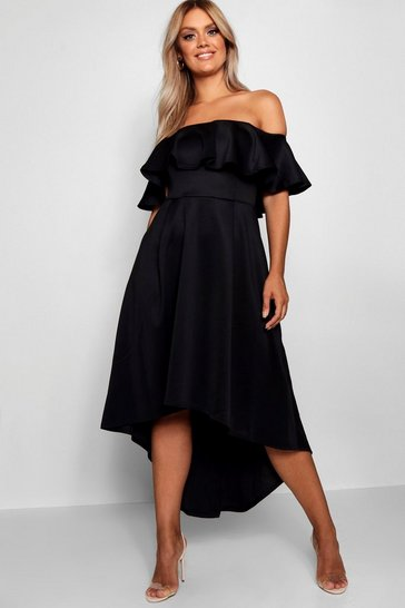 Womens Black Plus Liz Off Shoulder Dropped Hem Midaxi Dress
