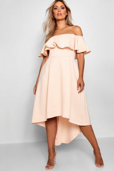 Womens Nude Plus Liz Off Shoulder Dropped Hem Midaxi Dress