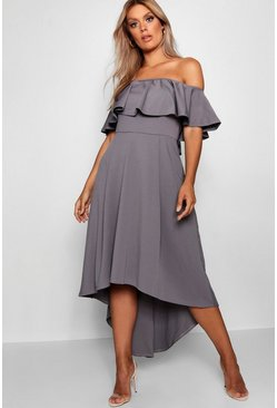 Womens Smoke Plus Liz Off Shoulder Dropped Hem Midaxi Dress