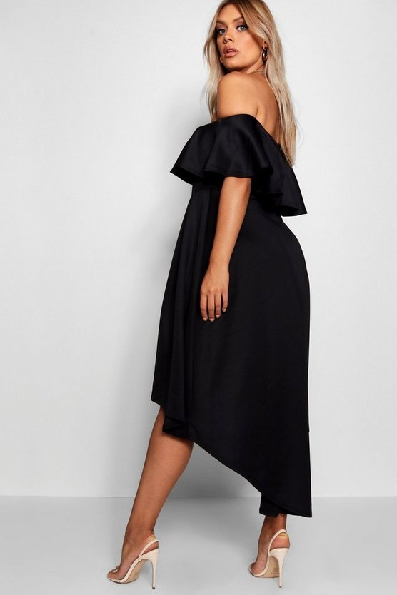 Plus Liz Off Shoulder Dropped Hem Midaxi Dress
