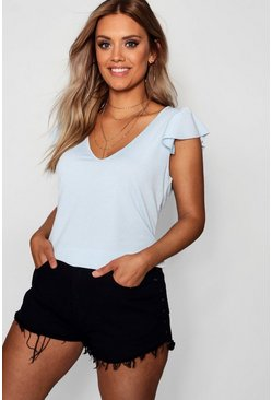 Womens Sky Plus V Neck Ruffle Rib Crop Top