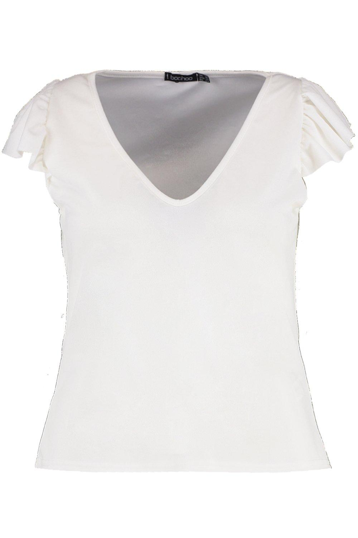 blanco corto cuello Top volante con en Plus en V y canalé vdnq7dwra