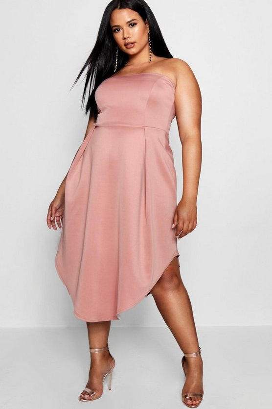 Plus Bandeau Asymmetric Hem Midi Dress