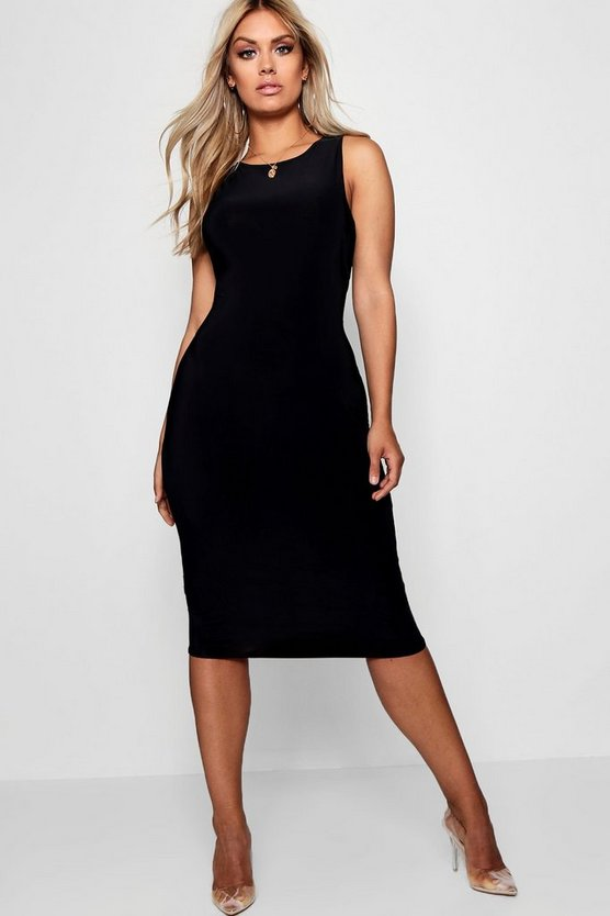 Womens Black Plus Slinky Sleeveless Midi Dress