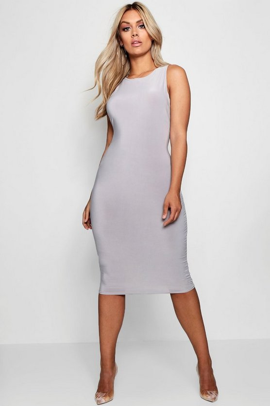 Plus Slinky Sleeveless Midi Dress
