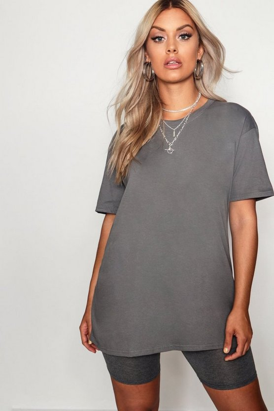 Womens Charcoal Plus Oversized Boyfriend T-Shirt