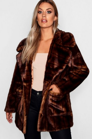 Womens Brown Plus Oversized Collar Faux Fur Coat