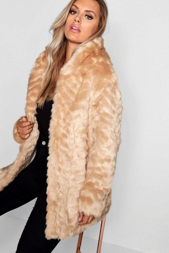 Womens Natural Plus Faux Fur Hooded Longline Coat