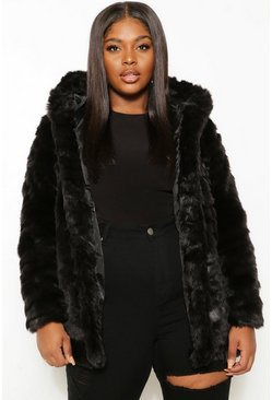 Womens Black Plus Faux Fur Hooded Longline Coat