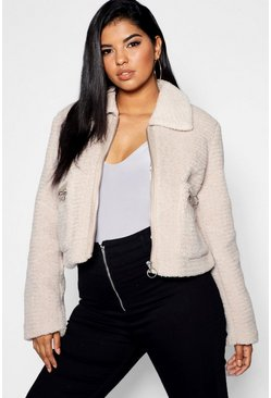 Womens Stone Plus Teddy Faux Fur Short Jacket