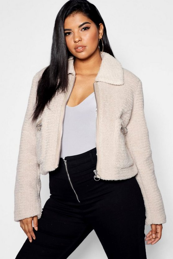 Plus Teddy Faux Fur Short Jacket