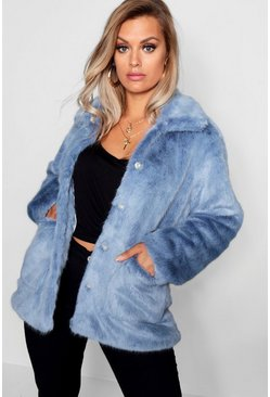 Womens Dusty blue Plus Faux Fur Jacket