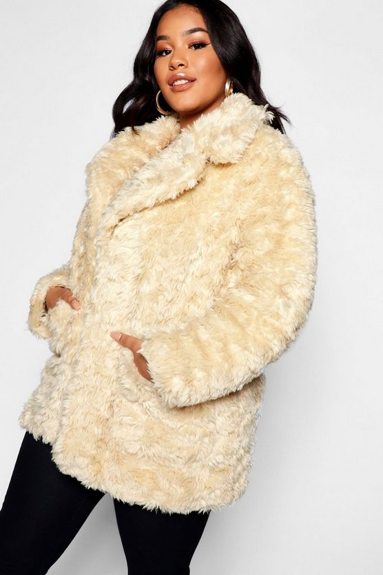 Plus Collared Faux Fur Coat