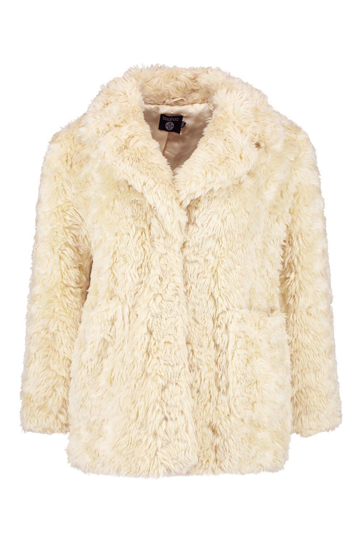 Plus Abrigo cream en con piel sintética cuello xUwqXrBCU