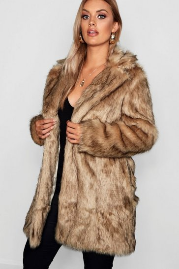 Womens Natural Plus Long Faux Fur Coat