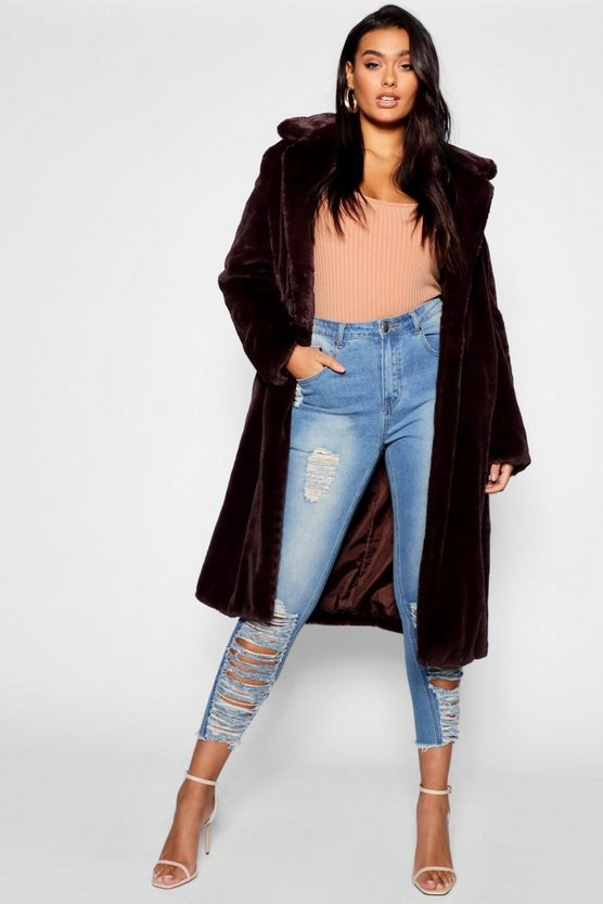 Womens Chocolate Plus Maxi Soft Faux Fur Coat