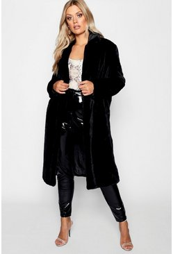 Womens Black Plus Maxi Soft Faux Fur Coat
