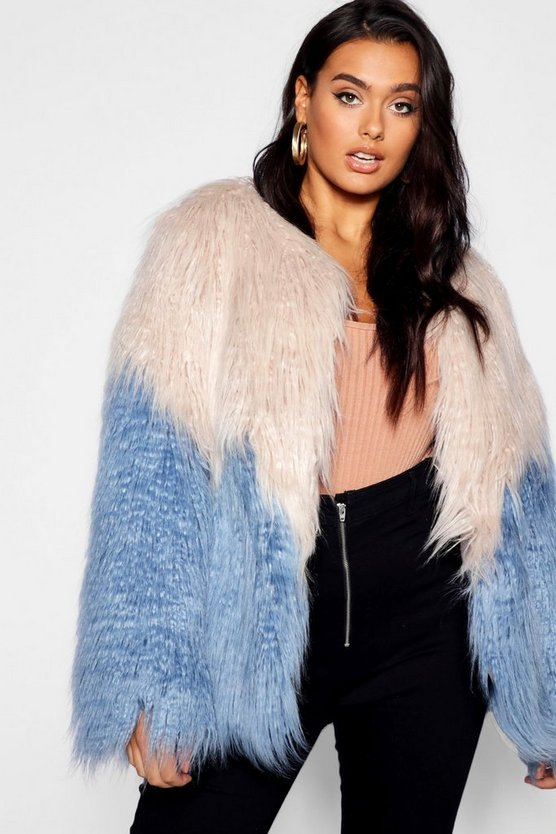 Womens Horizon blue Plus Two Tone Shaggy Faux Fur Jacket