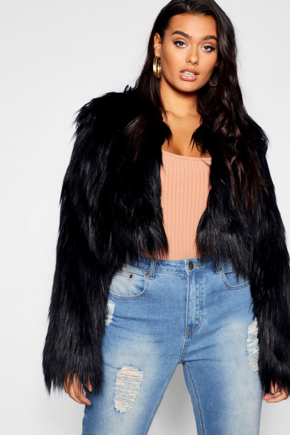 3a2cb4d1690c Plus Crop Shaggy Faux Fur Jacket