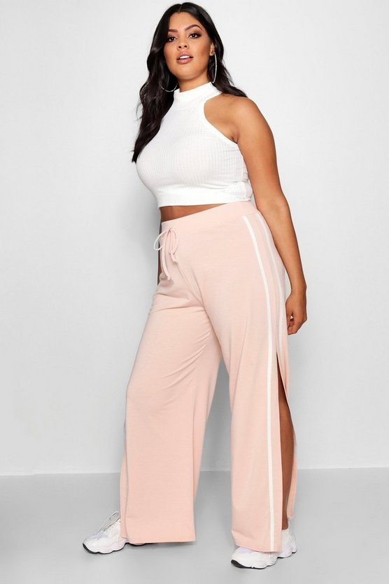 Plus Contrast Wide Leg Split Joggers
