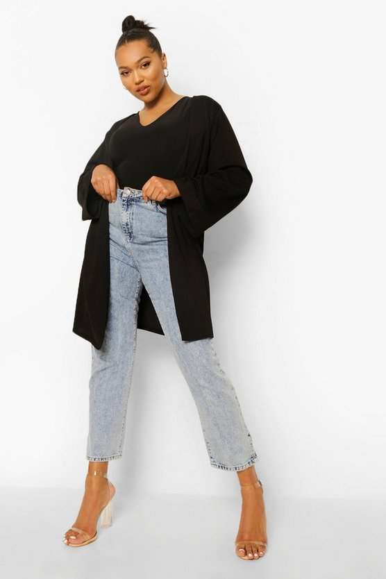 Womens Black Plus Crepe Kimono Sleeve Duster