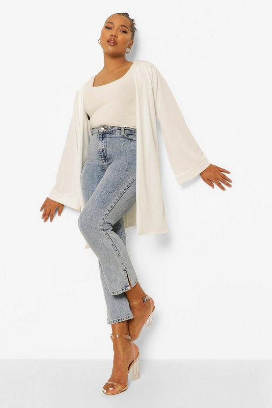 Womens White Plus Crepe Kimono Sleeve Duster