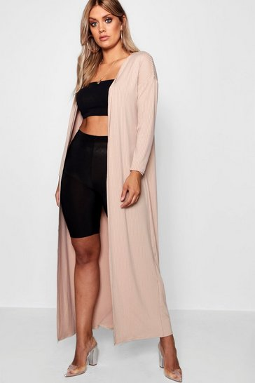 Womens Nude Plus Rib Longline Long Sleeve Cardigan