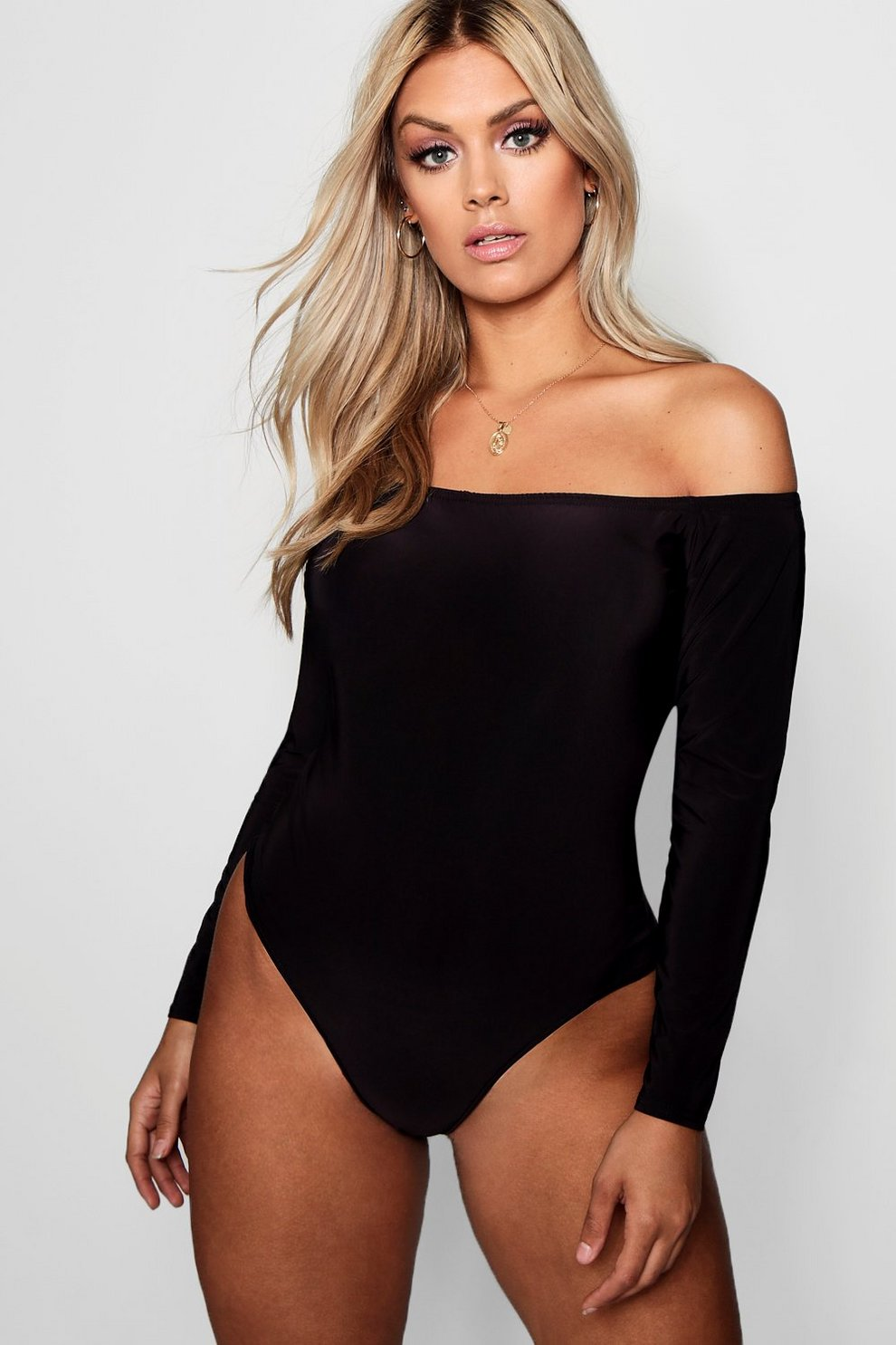 ffe2274f44d2 Womens Black Plus Slinky Off The Shoulder Bodysuit