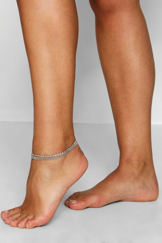 Plus Diamante Layered Anklet by Boohoo