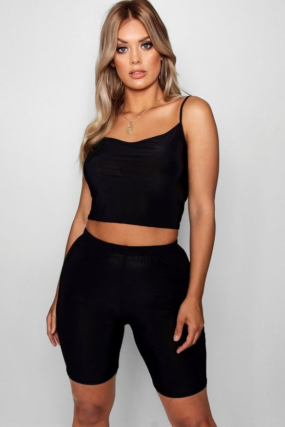Plus Slinky Bralet Crop & Cycle Short Co-ord