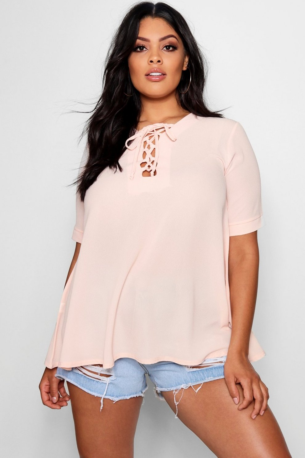 eb5e2f5e1839 Plus Woven Lace Up Detail Swing Top | Boohoo
